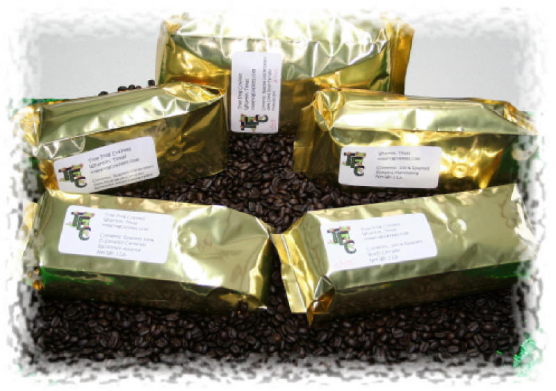 Bags of Sumatra coffee from Tree Frog Coffees