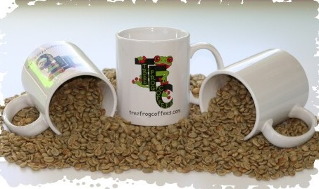 Green coffee and Tree Frog Coffees mugs